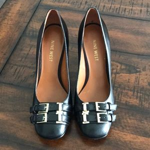 Nine West Chunky Heels with Gold Buckle Detail